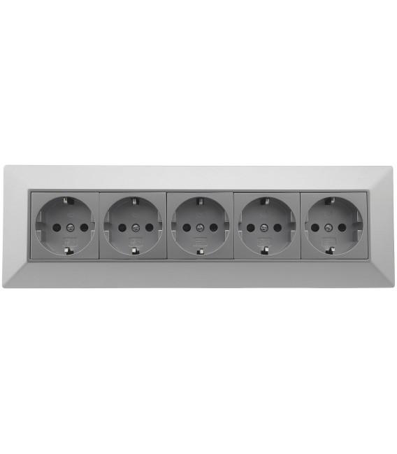 5-fach Steckdosenblock silber Bild 2 Vorschau