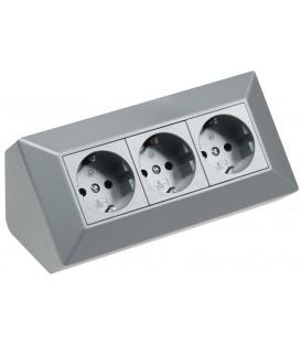 3-fach Steckdosenblock silber Bild 1